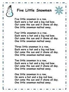 five little snowmen more winter songs for preschool winter preschool Snowman Poem, Snowman Songs, Snowmen, Preschool Fingerplays, Preschool Music, Preschool Winter Songs, Winter Songs For Kids, Christmas Songs For Toddlers, Ideas