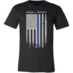 Threadrock Honor Respect Thin Blue Line Flag Flowy Racerback Men Short Sleeve T Shirt - TL00637SS