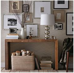 Console Table West Elm; love the picture display