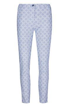 Blue Printed Bengaline Pants