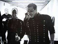 Till and Paul share a joke as they prepare to go on stage.  Ahoi! tour 2005