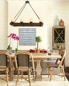 arturo 8 light chandelier. ballard designs + Belgian oak table