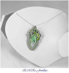 Hand made soutache necklace in grey / green tones Apple of