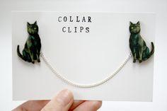 Black Cat Wooden Collar Clips