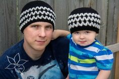 Daddy and Me Zig Zag Beanie FREE crochet pattern exclusively on #cre8tioncrochet