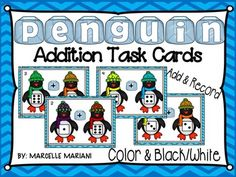 *****NEW LISTING***** 50% OFF FOR 48 HOURS-This $2.50 package offers a PENGUINS ADDITION TASK CARDS MATH CENTER ACTIVITY. Students use a recording sheet to interpret and record the die shown on each penguin.  They write the equation and find the sum for each addition problem shown on the task cards.The tools in this package offer hands on learning and prep is requiredKey words: Math addition center, Math addition task cards center, Penguins math center, Winter math…