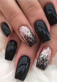 Fall Nail Designs Pictures 48 must try fall nail designs and ideas nails nailart Fall Nail Designs. Here is Fall Nail Designs Pictures for you. Fall Nail Designs 56 stylish fall nail art design for that will completely. Fall Nail D. Black Nails With Glitter, Black Acrylic Nails, Black Coffin Nails, Black Nail Art, Matte Black, Black Gold, Black Manicure, Acrylic Art, Black Art