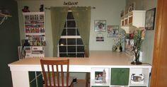 Diy craft desk with storage diy large craft table with storage. Diy Crafts Desk, Craft Room Desk, Craft Room Tables, Craft Room Storage, Diy Storage, Storage Hacks, Diy Wall Decor, Diy Home Decor, Craft Tables With Storage