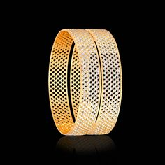 The CNC gold bangles is a collection of bold cut-out & hole designs. Shop from our CNC gold bangles online & add that 'prestige' to your look & personality. Gold Bangles For Women, Gold Bangles Design, Gold Jewellery Design, Gold Jewelry, Jewelery, Urban Jewelry, Stylish Jewelry, Bridal Chuda, Gold Gold