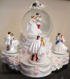 Disney Souvenirs & Collectibles – Princess Wedding Dance Snowglobe Chip and Company Princess Wedding Cakes, Princess Cakes, Walt Disney, Disney Couples, Disney Snowglobes, Musical Snow Globes, Disney Souvenirs, Disney Treasures, Water Globes