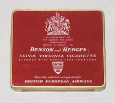 This is a lovely 1950s BEA Silver Wing service aluminium cigarette tin.  It held 20 Benson & Hedges Super Virginia cigarettes.  It is in red and white pattern with gilded edging.  It has the serial number 4207 stamped on the base.  In June 1952 BEA re-launched the pre-war mid-day Silverwing service (pioneered by Imperial Airways) on the London–Paris route with 40-seat all-first class Ambassador aircraft.  The Ambassador was BEA's last major piston-engined type and the description…