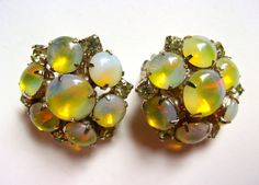 Yellow Opalescent JULIANA Earrings Cabochons & by RenaissanceFair