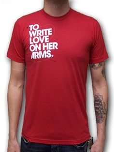 To Write Love On Her Arms Title design printed on a red ringspun cotton t-shirt for guys.  TWLOHA story printed on the inside of shirt.