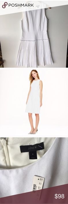 J. Crew white pleated dress Beautiful white cotton pique dress. Ultra-flattering fit and flare silhouette with dozens of crisp pleats in the skirt. Cotton, back zip, lined, falls to knee. Bust 34 waist 30 length 37 J. Crew Dresses