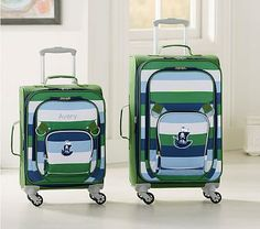 Small Spinner Luggage, Fairfax Green Navy Multicolor Stripe, No Patch