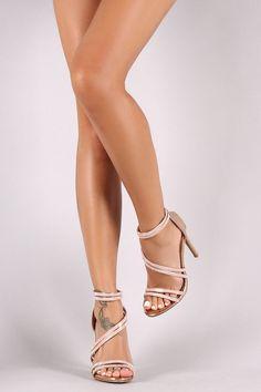 Anne Michelle Asymmetrical Strappy Rhinestone Open Toe Stiletto Heels