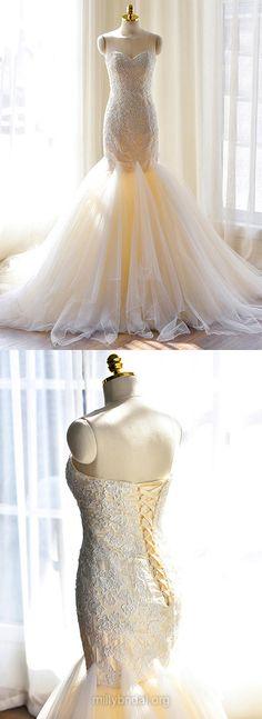 Lace Wedding Dresses Mermaid, Sweetheart Wedding Dresses Tulle, Modest Wedding Dresses Simple Appliques