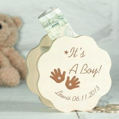 Engraved Wooden Money Box - It's A Boy Hands Design by Personalised Gifts Shop. Unique Baby Gifts, Personalized Baby Gifts, New Baby Gifts, Gifts For Boys, New Baby Presents, Shape Crafts, Girls Hand, Money Box, Hand Designs
