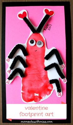 Love Bug Footprint - Valentine's Day for Babies - www.momentswithmiss.com