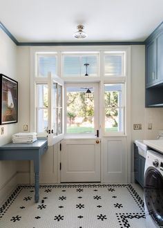 Eye-Catching, Creative Tile Patterns Inspired by HGTV Smart Home 2019 Small Pantry Organization, Room Organization, Tiny Laundry Rooms, Antique Light Fixtures, Transom Windows, Dutch Door, Bookshelves Built In, Transitional Living Rooms, Antique Doors