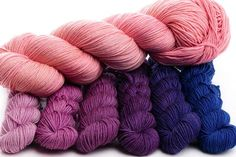Pocketful of Posies and Flamingo (hand-dyed gradient mini-skein set + full skein contrast). Wool Yarn, Merino Wool Blanket, Finger Weights, Hand Dyed Yarn, Needles Sizes, Lace Knitting, Yarns, Flamingo, Vibrant Colors