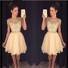 Cute Homecoming Dresses,Sparkly Beaded Homecoming HOCO Dresses,Short Prom sold by lasedress. Shop more products from lasedress on Storenvy, the home of independent small businesses all over the world. Champagne Homecoming Dresses, 2016 Homecoming Dresses, Cute Prom Dresses, Elegant Prom Dresses, Dresses Short, Dresses For Teens, Pretty Dresses, Beautiful Dresses, Dresses 2016