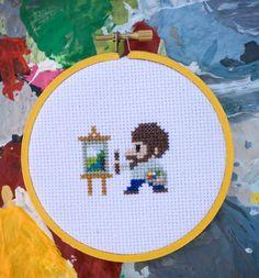 Bob Ross 4'' cross stitch by CraniumCommand on Etsy, $9.00