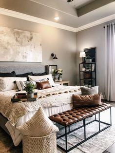 My friend, Kristen, asked me a couple of weeks ago if I could help give her some ideas for decorating her Master Bedroom. She has a beautiful, new hom… - nimivo sites Dream Master Bedroom, Farmhouse Master Bedroom, Master Bedrooms, Modern Farmhouse Living Room Decor, Modern Bedroom, Farmhouse Style, White Bedroom, Rustic Farmhouse, Bedroom Ideas For Couples Modern