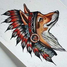 23 Best Ideas for tattoo traditional wolf design Music Tattoos, Body Art Tattoos, New Tattoos, Fox Tattoo Design, Tattoo Designs, Buffalo Tattoo, Headdress Tattoo, Fuchs Tattoo, Wolf Design