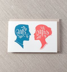 Silhouette - Letterpress Greeting Card, By Pike Street Press - Seattle Engagement Greetings, Engagement Cards, Letterpress Printing, Love Cards, Paper Goods, Business Card Design, Card Sizes, Custom Invitations, Wedding Cards
