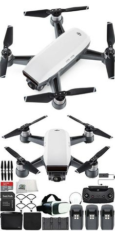 DJI Spark Portable Mini Drone Quadcopter Fly More Combo Virtual Reality Experience VR Ultimate Bundle (Alpine White).