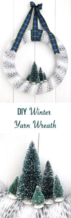 Winter Yarn Wreath with Bottle Brush Trees