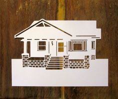 Custom home papercut. Detailed and iconic.