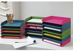 Stackable Office Staple Pops Bills Notes To Do S In Super Saturated Blue Green Or Pink Handcrafted Veneered Plywood Tray Is Stained A Rich Hue That