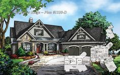 Craftsman plan 1320-D - The Butler Ridge - is NOW AVAILABLE! http://www.dongardner.com/plan_details.aspx?pid=4559 - This Craftsman-blend, hillside walkout plan has European and Old World influence found throughout. #DreamHome #FloorPlan #Craftsman hous plan, house plans
