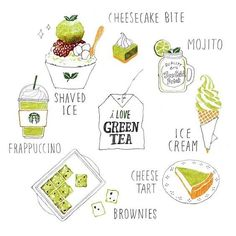 Green tea at its very finest by (one of my faves here on IG!) by theydrawandcook Dessert Illustration, Watercolor Illustration, Food Doodles, Pinterest Instagram, Food Sketch, Watercolor Food, Food Painting, Food Drawing, Food Illustrations