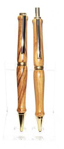 Holy Land Olive Wood w/24kt Gold Trim Pen & Pencil by Chris - Custom Turned Handmade Pens
