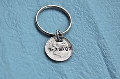 10th Anniversary gift... personalized date, dime, hand stamped keychain. $9.00, via Etsy.