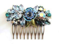 Wedding jewelry bridal haircomb - Vintage collage rhinestones and flowers - shabby chic statement. €93,00, via Etsy.