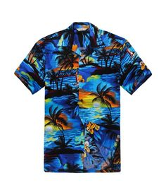 Men Hawaiian Aloha Shirt in Sunset Blue