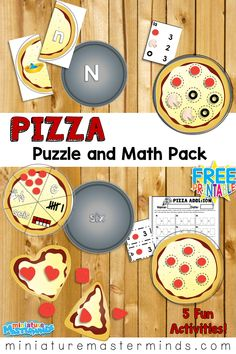 Pizza Puzzles and Math Pack Alphabet, Counting, Addition, Shapes Free printables For Math and Literacy Centers and file Folder activities Free Preschool, Preschool Printables, Free Printables, Math Games, Preschool Activities, School Pizza, Pizza Shapes, Restaurant Themes, Pizza Restaurant