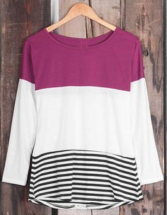 Like it! Free shipping&easy return! This splicing striped top is detailed with contrast color&slim fit. Keep the day comfy&sassy with Cupshe.com