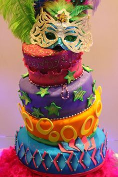 Image result for decoracion fiesta tematica carnaval de barranquilla Carnival Cakes, Carnival Themed Party, Party Themes, Masquerade Cakes, Masquerade Ball, Rio Cake, After Prom, Sweet 16 Cakes, No Bake Desserts