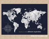 Travel Map, INTERACTIVE Family Map // Mark the places you've visited //  Personalized, Gallery Wrapped Canvas or Print // H-I13-1PS AA5