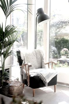 Beautiful reading corner in this bright window space.