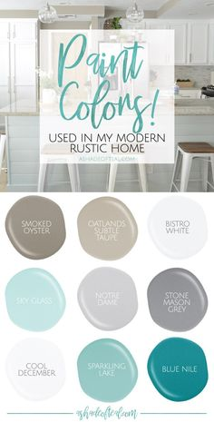 Colors used in my Modern Rustic Home! Paint Colors used in my Modern Rustic Home! Find out what paint colors I love and use in my home.Paint Colors used in my Modern Rustic Home! Find out what paint colors I love and use in my home. Rustic Paint Colors, Farmhouse Paint Colors, Interior Paint Colors, Farmhouse Decor, Beachy Paint Colors, Rustic Color Schemes, Modern Paint Colors, Rustic Painting, Coastal Colors