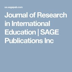 Journal of Research in International Education | SAGE Publications Inc