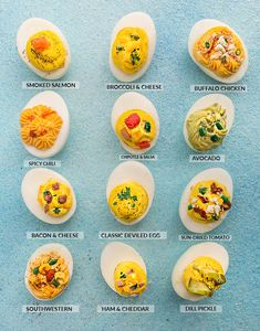 Low Carb Deviled Eggs - 12 different ways are the perfect easy make-ahead appetizers for Easter Mother& Day or any weekend or holiday brunch. Best of all, they are low carb, keto and packed with protein. Easy Make Ahead Appetizers, Brunch Appetizers, Make Ahead Brunch, Brunch Recipes, Breakfast Recipes, Brunch Ideas, Holiday Appetizers, Perfect Deviled Eggs, Best Deviled Eggs