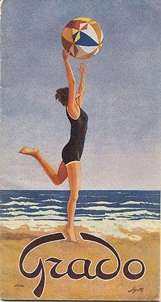 Grado, 1930 Venezia - Italia Vintage travel poster #beach #riviera #essenzadiriviera