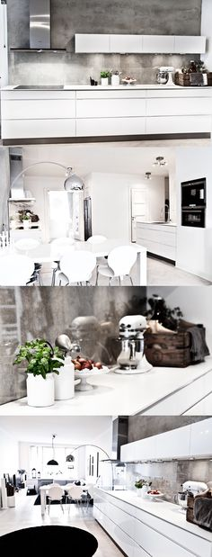 Kvik kitchen - love the concrete back wall Living Room Kitchen, Kitchen Dining, Kitchen Decor, Updated Kitchen, New Kitchen, Dining Room Inspiration, Kitchenette, Cool Kitchens, Sweet Home